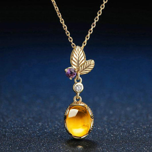 Oval Citrine Necklace - Crazy Fox