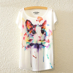 Watercolour Cat T-Shirt - Crazy Fox