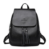 Women's Leather Tassel Backpack - Crazy Fox