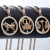 12 Zodiac Signs Necklace with Stones - Crazy Fox