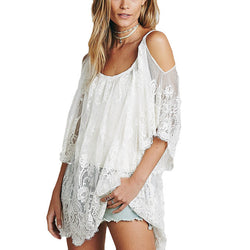 Floral Embroidered Beach Tunic - Crazy Fox