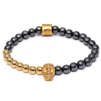 Gold Skull Beads Bracelet - Crazy Fox