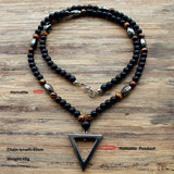 Tiger Stone Hematite Triangle Bead Necklace - Crazy Fox