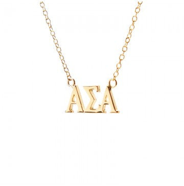 Alpha Sigma Alpha Gold Lavalier Necklace Greek Girl Shop