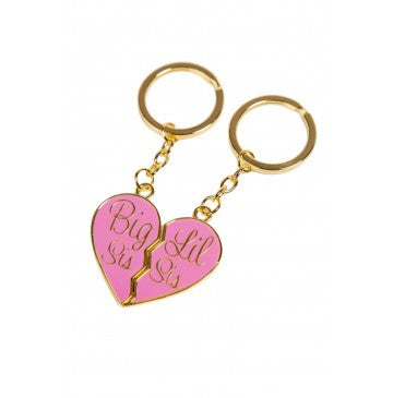 Big Sis & Lil Sis Gold Keychain Set