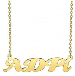 Alpha Delta Pi Gold Script Necklace