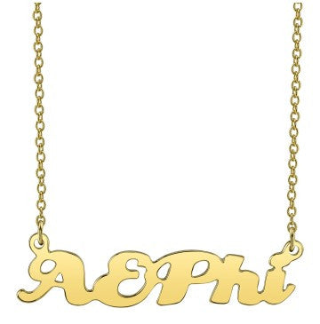 Alpha Epsilon Phi Gold Script Necklace