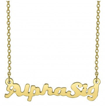Alpha Sigma Alpha Gold Script Necklace