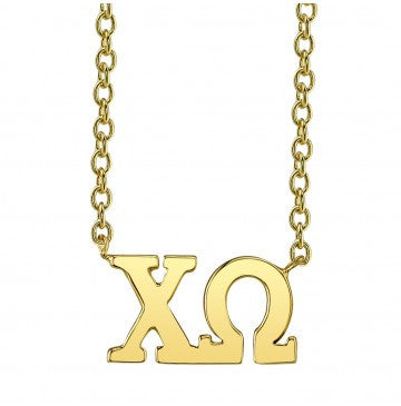 Chi Omega Gold Letter Necklace