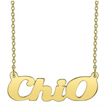 Chi Omega Gold Script Necklace