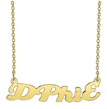 Delta Phi Epsilon Gold Script Necklace