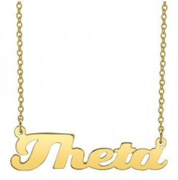 Kappa Alpha Theta Gold Script Necklace