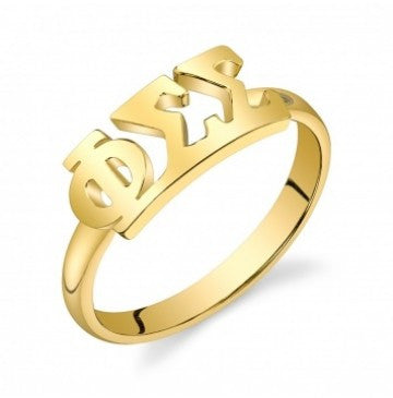Phi Sigma Sigma Gold Vermeil Letter Ring