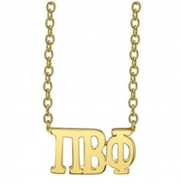 Pi Beta Phi Gold Letter Necklace - Pi Beta Phi