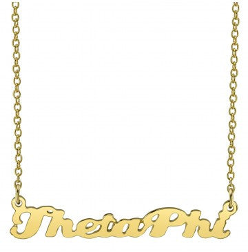 Theta Phi Alpha Gold Script Necklace