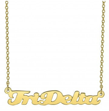 Delta Delta Delta Gold Script Necklace