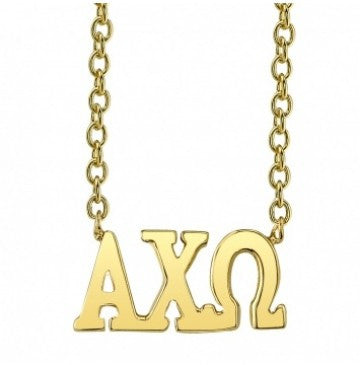 Alpha Chi Omega Gold Letter Necklace
