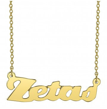 Zeta Tau Alpha Gold Script Necklace