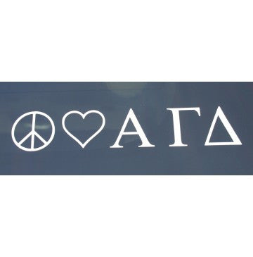 Peace Love Alpha Gamma Delta Decal