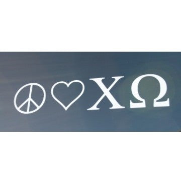 Peace Love Chi Omega Decal