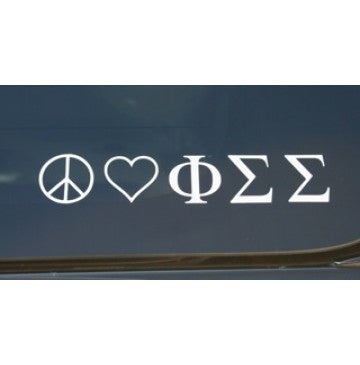 Peace Love Phi Sigma Sigma Decal