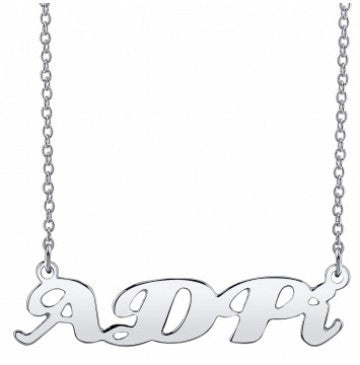 Alpha Delta Pi Silver Script Necklace