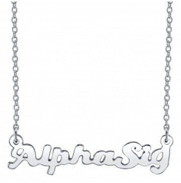 Alpha Sigma Alpha Silver Script Necklace