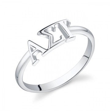 Alpha Sigma Tau Sterling Silver Letter Ring