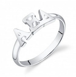 Alpha Xi Delta Sterling Silver Letter Ring