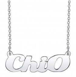 Chi Omega Silver Script Necklace
