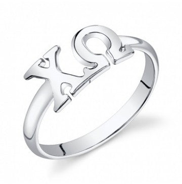 Chi Omega Sterling Silver Letter Ring