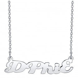 Delta Phi Epsilon Silver Script Necklace