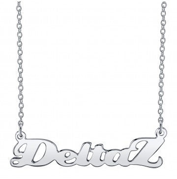 Delta Zeta Silver Script Necklace