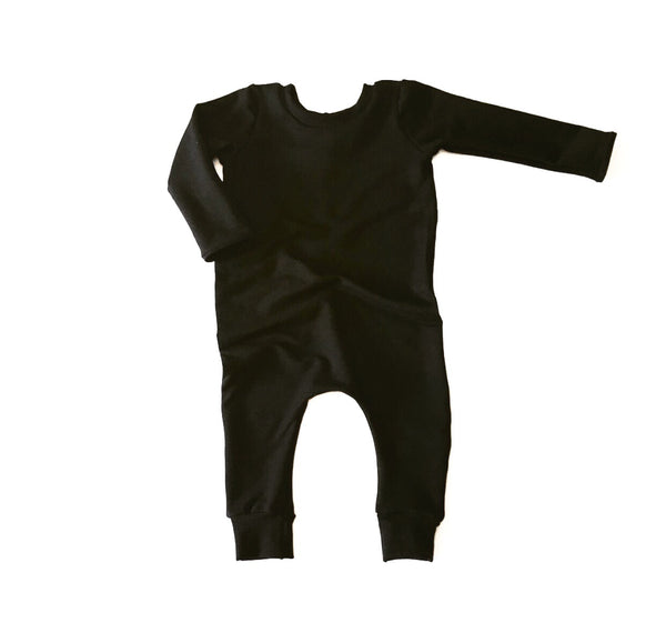 Solid Black Pull on Romper