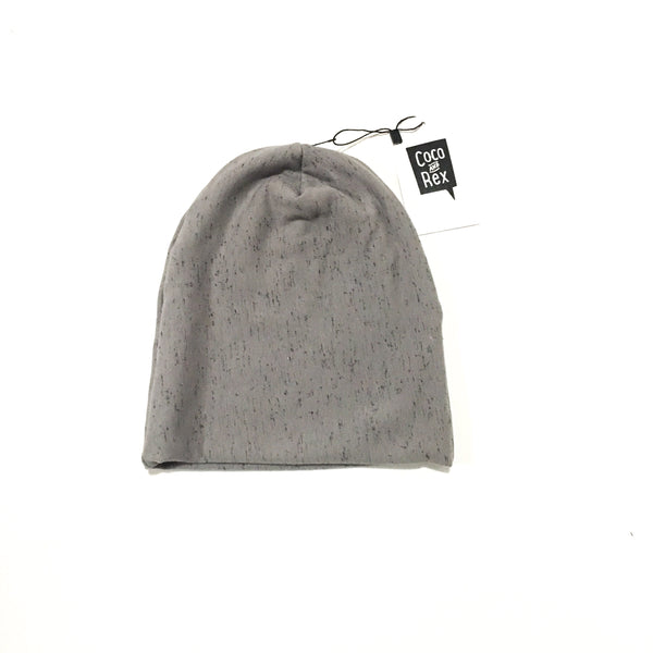 Grey and speckled black beanie