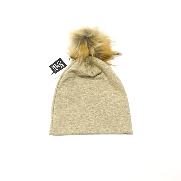 Neutral beanie with Brown and Black Pom