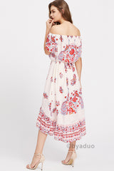 FLORAL BIRDS OF PARADISE BEACH DRESS IN CREAM