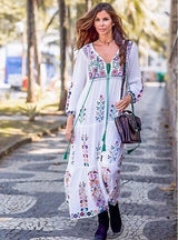Embroidery Fower Maxi Dress