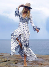 Bell Sleeves Wrap Dress, V-Neck Dress, Printed Dress, Long Sleeve Dress, Long Dress