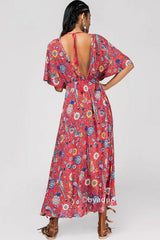 IN FULL BLOOM MAXI DRESS IN RED