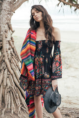 Off Shoulder Floral Birds of Paradise Beach Dress
