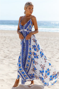 BROCADE BACKLESS BEACH DRESS