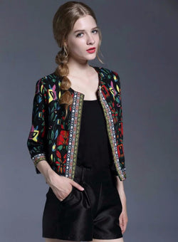 Floral Embroidery Short Jacket