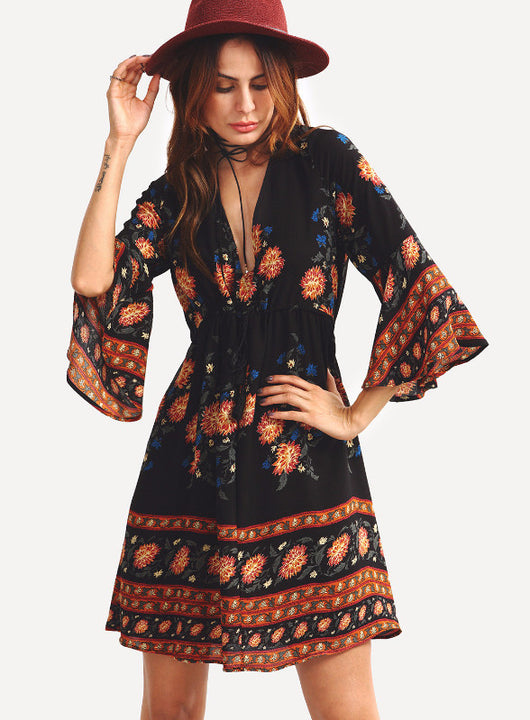 Floral Pattern Chic Dress, V-Neck, Above Knee Dress, Mini Dress, Flare Sleeve, Bohemian Dress, Floral Dress
