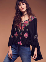 Embroidery Tassels Blouse, Flare Sleeve,Long Sleeve, Blouse