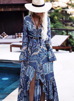 Blue Bohemian Slim Maxi Dress