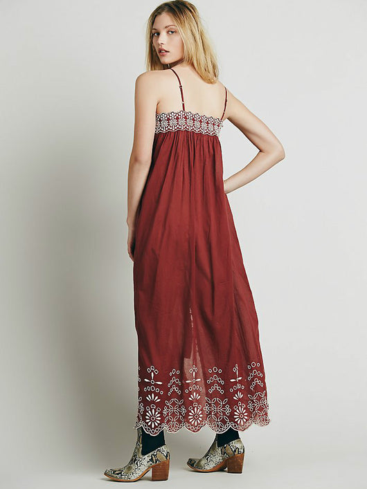 Hollow Embroidery Maxi Dress