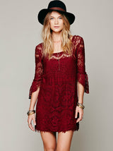 Floral Hollow Lace Dress