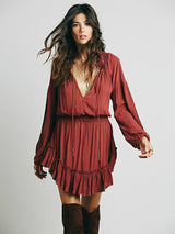 Irregular Hem Ruffles Dress