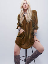 I Would Like To Know Velvet Shirt Dress